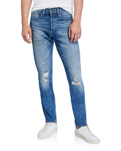 Men's Standard Issue Fit 2 Mid-Rise Relaxed Slim-Fit Ripped-Knee Jeans