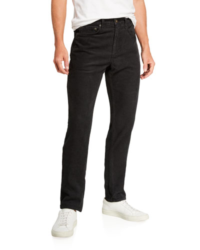 Men's Standard Issue Fit 2 Mid-Rise Relaxed Slim-Fit Corduroy Jeans, Worn Black