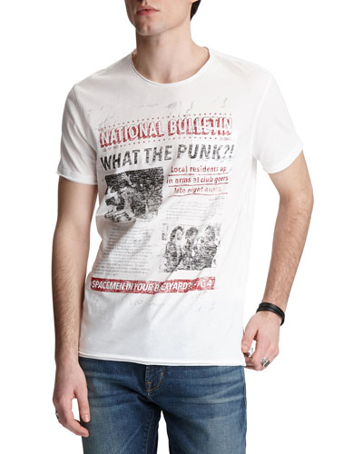 Men's Punk Paper Graphic T-Shirt
