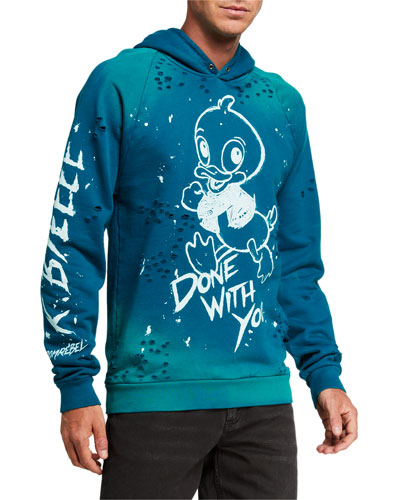 Men's BYE Distressed Paint-Splatter Graphic Hoodie