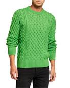 Rag & Bone Men's Aran Cable-Knit Crewneck Sweater