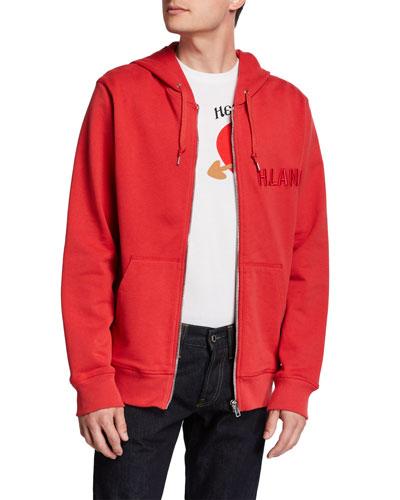 Men's Raised Embroidery Zip-Up Hoodie Sweatshirt