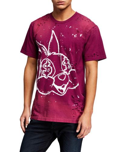 Men's Paint-Splatter Bunny Graphic T-Shirt