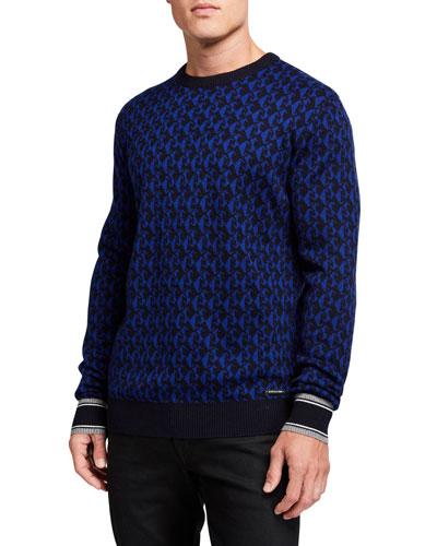 Men's Wool-Blend Jacquard Crewneck Sweater
