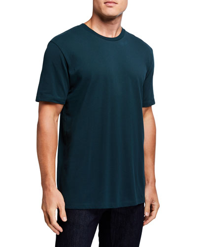 Men's Solid Cotton Pique Crewneck T-Shirt