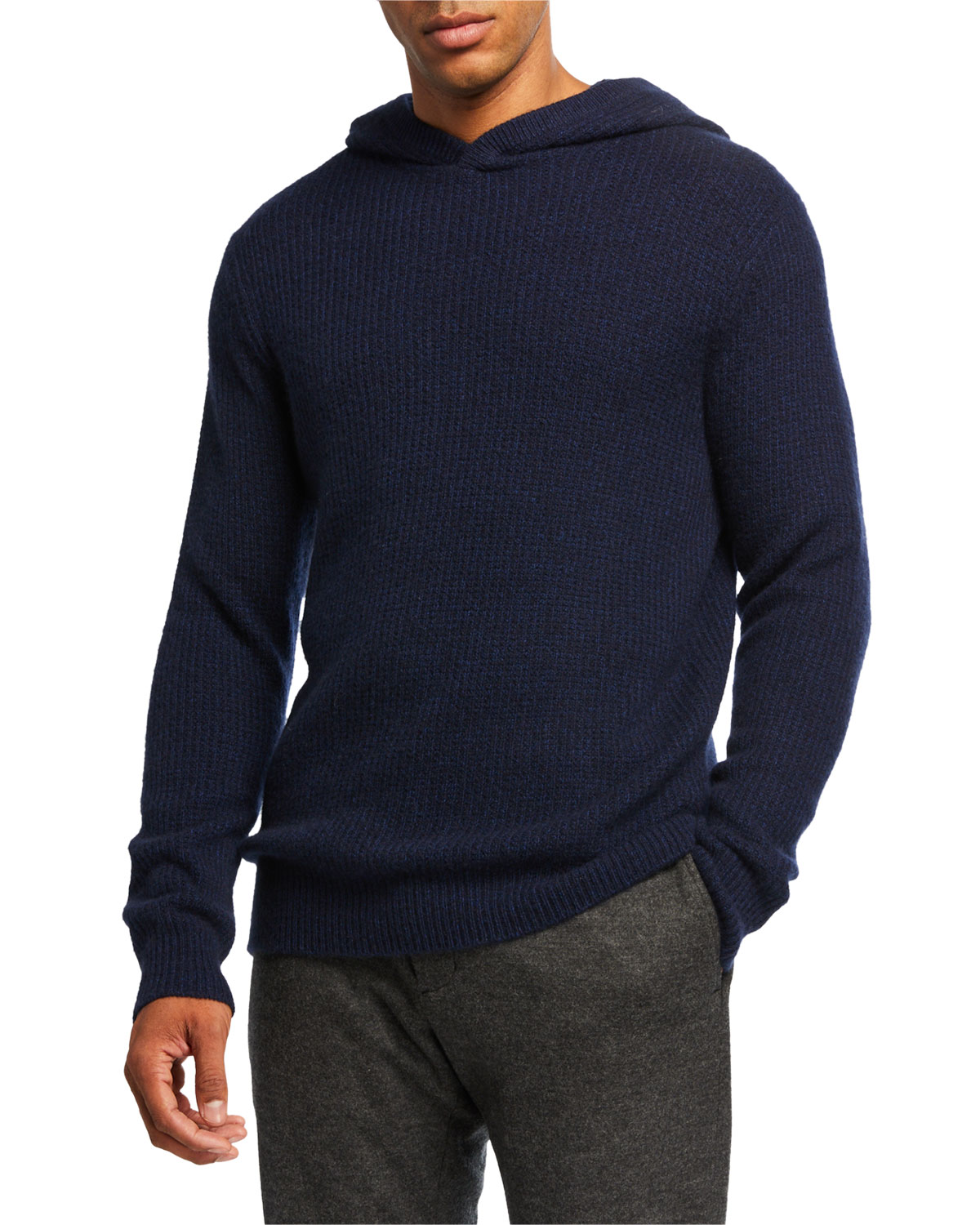 Vince Tops MEN'S MARLED CASHMERE PULLOVER HOODIE