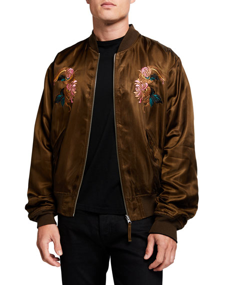 Scotch & Soda Men's Reversible Satin Embroidered Bomber Jacket