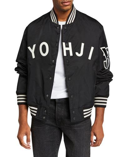 Men's YOHJI Letters Bomber Jacket with Stripes