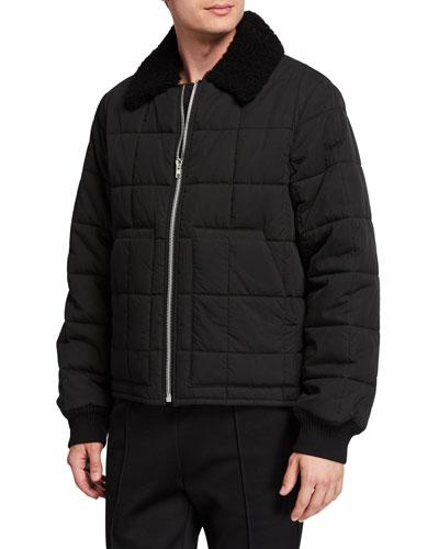 Men's Quilted Nylon Bomber Jacket w/ Fur Collar