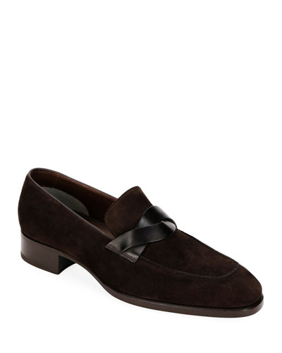 Men's Twisted Strap Suede Loafers