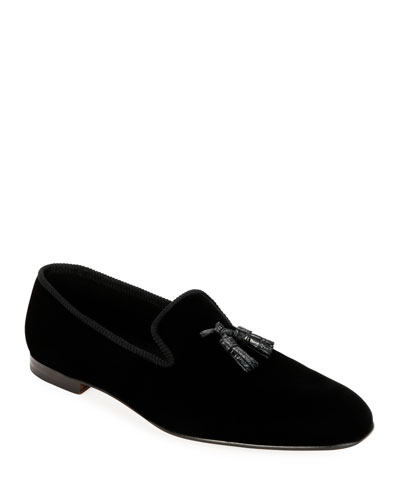 Men's Velvet Tassel Loafers