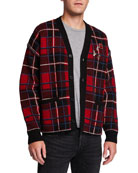 Ovadia Men's Plaid Button-Up Cardigan Sweater