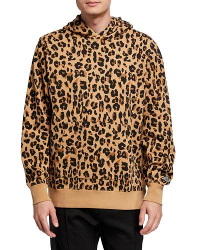 Men's Snow-Wash Leopard-Print Pullover Hoodie