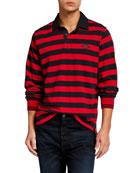 Ovadia Men's Monogram Rugby Stripe Polo Shirt