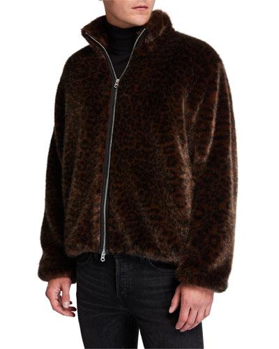 Men's Leopard Faux-Fur Coat