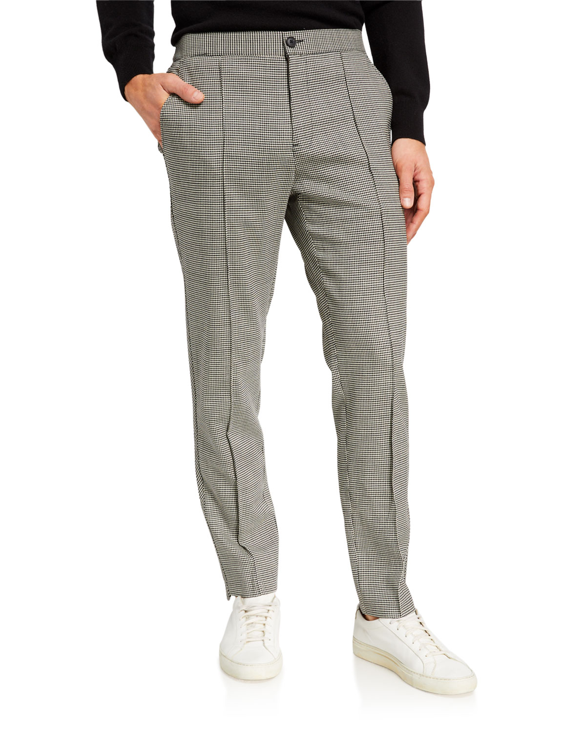 Ovadia & Sons Pants MEN'S PLEATED WOOL HOUNDSTOOTH PANTS