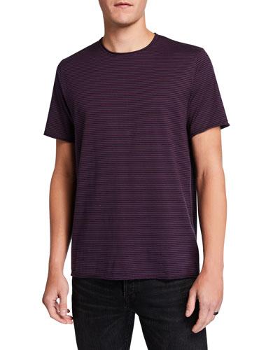 Men's Striped Cotton Crewneck T-Shirt