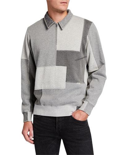 Men's Dune Half-Zip Patchwork Sweatshirt