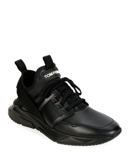 TOM FORD Men's Tonal Leather Trainer Sneakers