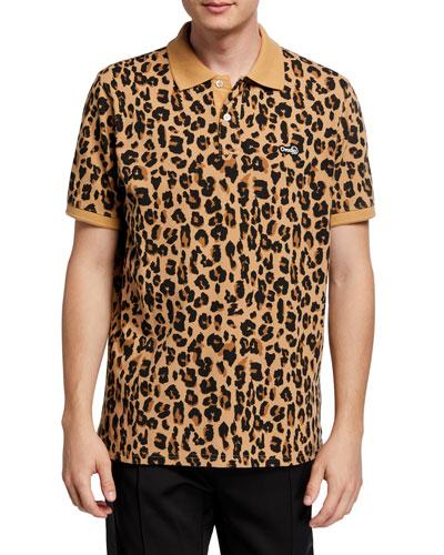 Men's Leopard-Print Polo Shirt