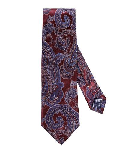 Paisley Silk Tie, Dark Red