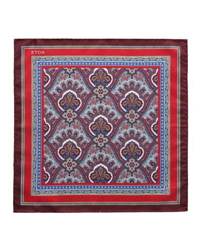 Men's Silk Paisley Pocket Square, Red