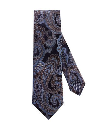Paisley Silk Tie, Navy