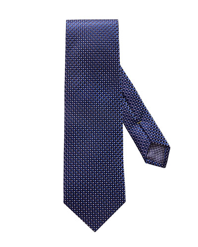 Micro Circle Silk Tie, Navy