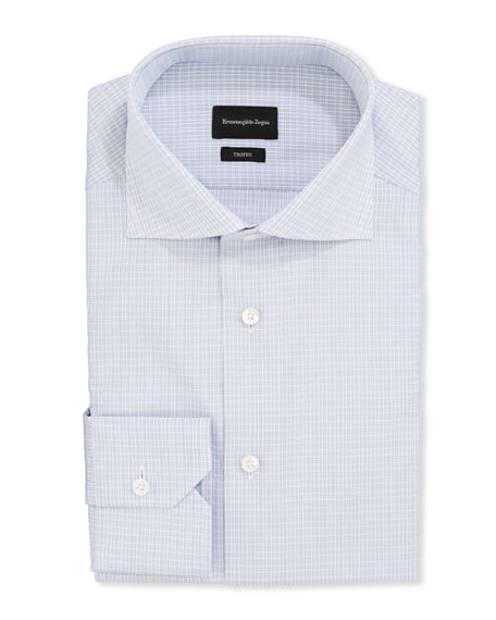 Ermenegildo Zegna Men's Trofeo Micro-Graph Trim-Fit Dress Shirt