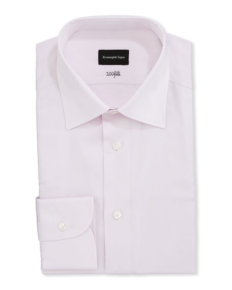 Ermenegildo Zegna Men's Solid 100Fili Cotton Regular-Fit Dress Shirt