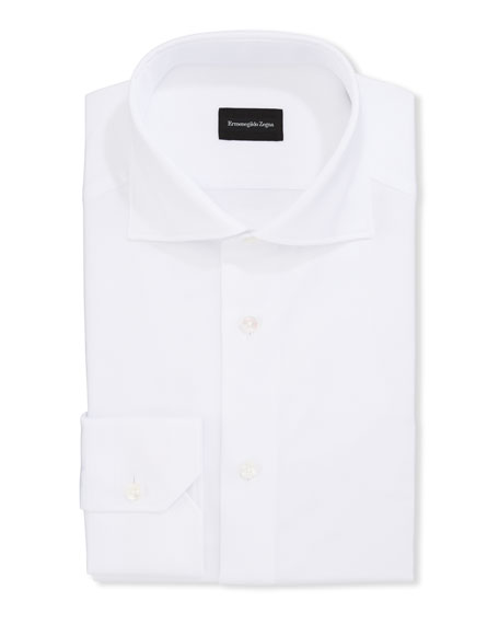 Ermenegildo Zegna Men's Solid Royal Oxford Trim-Fit Dress Shirt
