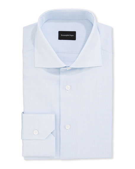 Ermenegildo Zegna Men's Structured Tic Trim-Fit Dress Shirt