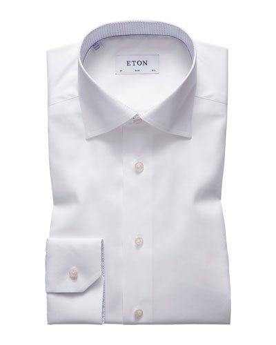Men's Slim-Fit Dress Shirt with Micro-Print Details