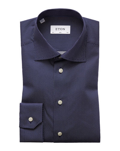 Men's Slim-Fit Dot Dress Shirt