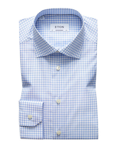 Men's Contemporary-Fit Grid-Check Natural-Stretch Dress Shirt