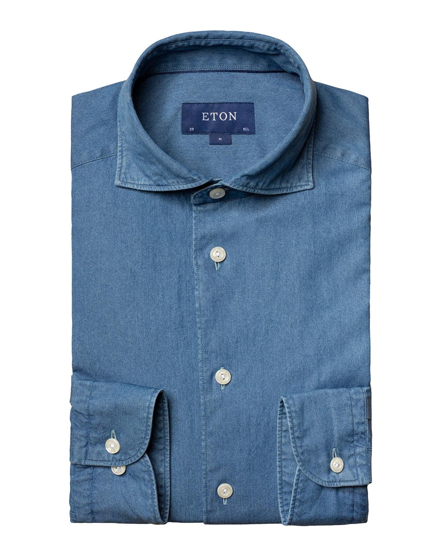 Men's Contemporary-Fit Soft Lightweight Denim Dress Shirt