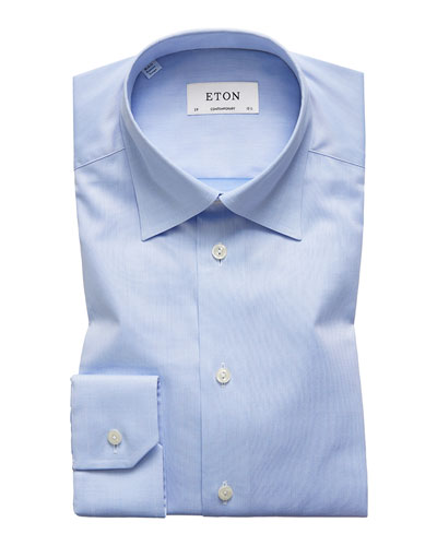 Men's Contemporary-Fit Twill Dress Shirt with Hidden Button-Down Collar