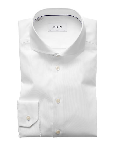 Men's Slim-Fit Twill Dress Shirt with Cutaway Collar