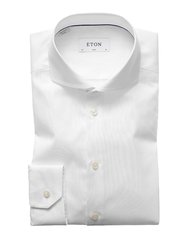 Men's Slim-Fit Twill Dress Shirt with Cutaway Collar