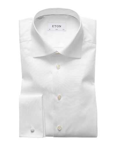 Men's Slim-Fit French-Cuff Twill Dress Shirt