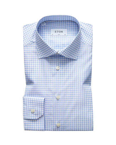 Men's Slim-Fit Grid-Check Dress Shirt