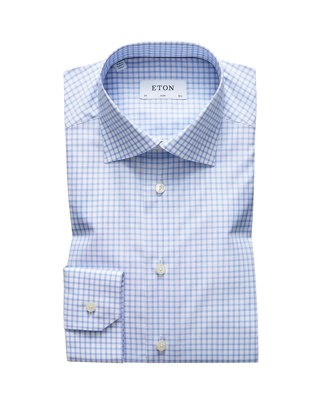 Men's Slim-Fit Grid-Check Dress Shirt
