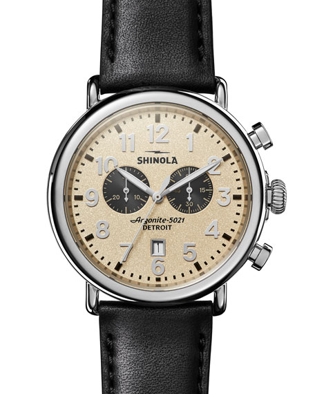 Shinola Men's 47mm Runwell 2-Eye Chronograph Watch with Leather Strap