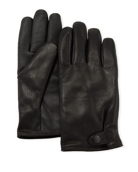 UGG Men's Tabbed-Splice Vent Leather Gloves