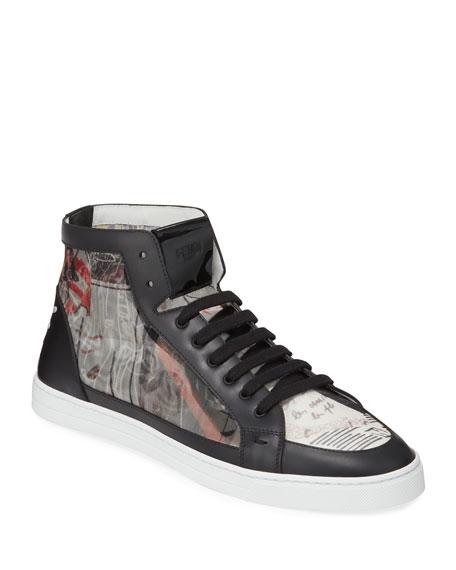 Fendi Men's Karl Lagerfeld Graphic High-Top Sneakers
