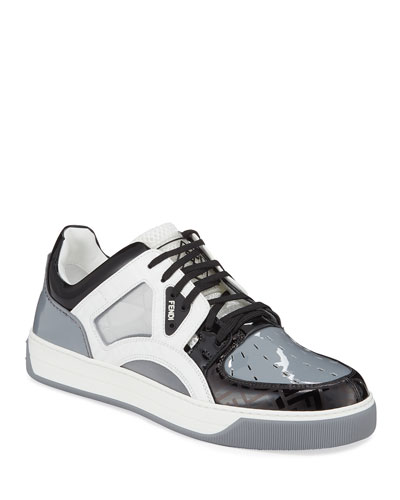 Men's Mixed-Media Shiny Trainer Sneakers