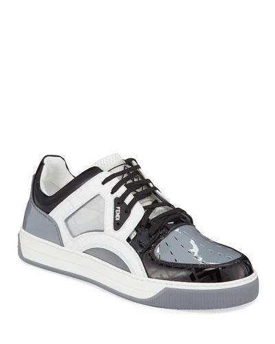 Men's Mixed-Media Shiny Trainer Sneakers