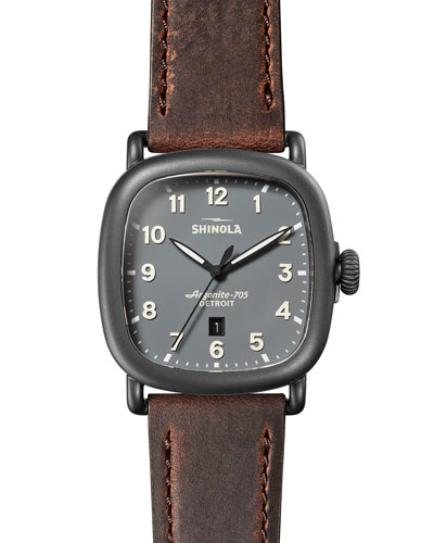 Men's 43mm Guardian Watch with Premium Leather Strap