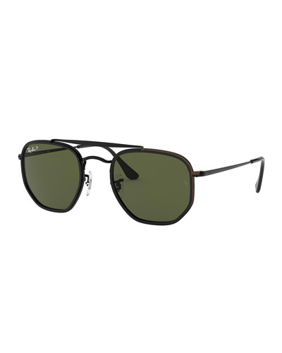 Men's Hexagonal Steel Double-Bridge Sunglasses