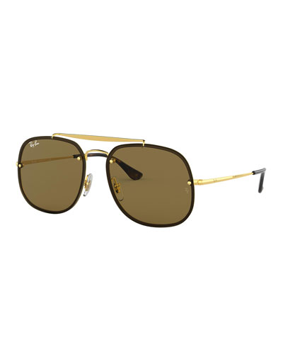 Men's 58mm Square Metal Brow-Bar Sunglasses